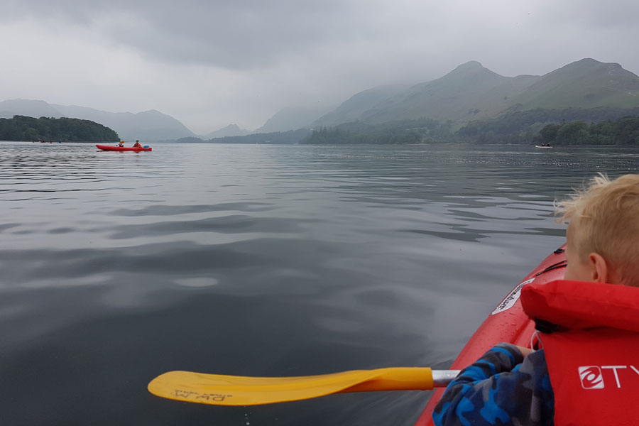 Kayaking on misty Derwentwater
