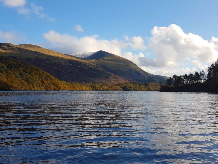 Thirlmere and snow-capped Helvellyn