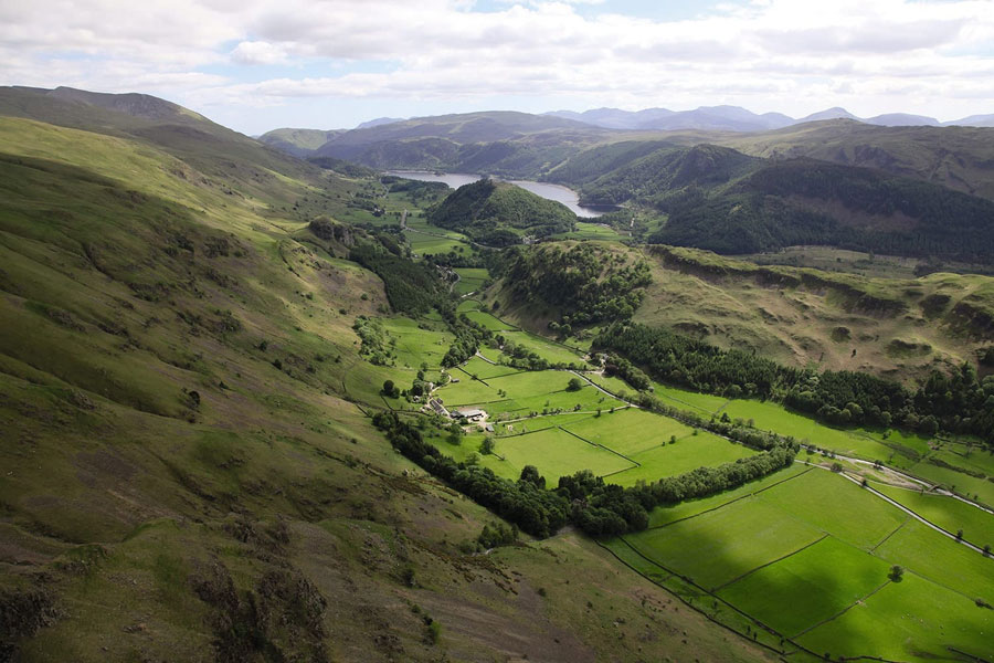 Aerial view of Fornside Farm and Thirlmere